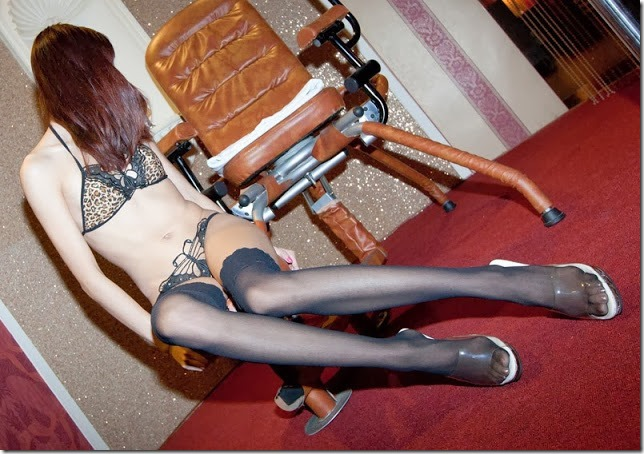 Skinny Asian Wearing Black Silk Stockings And Leopard Print Lingerie In The Punishment Room www.GutterUncensored.com 010 (1)